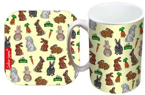 Selina-Jayne Rabbits Limited Edition Designer Mug and Coaster Gift Set